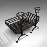 Antique Fire Basket, Pair of Andirons, English, Iron, Fireside, Victorian, 1900 (10 of 12)