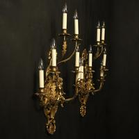 French Pair of Cherub Gilded Brass Wall Lights (10 of 10)