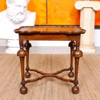 Walnut Side Table Continental Queen Anne Carved Lamp Table (2 of 12)