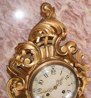 Scandanavian Wall Clock Antique Carved Rococo Giltwood Clocks (9 of 10)