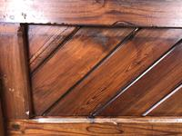 Antique Pitch Pine Church Pew with Enamel Number 35 (10 of 12)