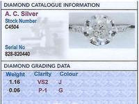 1.22ct Diamond & Platinum Solitaire Ring - Antique French c.1920 (6 of 9)