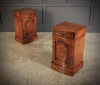 Late Victorian Figured Walnut Bow Front Bedside Cabinets (2 of 17)