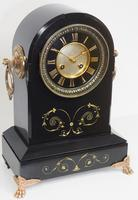 Antique French Slate Mantel Clock 8-Day Arch Top Striking Mantle Clock with Gilt Decoration (9 of 9)