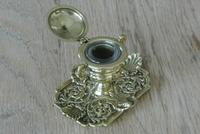 Fine Quality Brass 'Marine' Influenced Inkwell by William Tonks & Sons Registered Diamond Mark for 19th January 1881 (3 of 7)