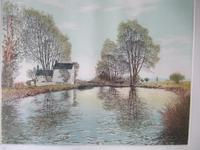 """Gilbert Browne Lithographic Print """"Stratford Upon Avon Canal I"""""""