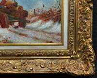 'The Loggers Return Home' Superb Antique Winter Landscape Oil on Canvas Painting (10 of 12)