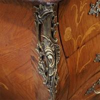 1930's Marble Top Marquetry Bombe Commode (6 of 9)