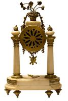Mid 19th Century French Ormolu & Alabaster Portico Clock (4 of 8)