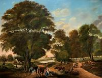 Huge Fabulous 19thc Continental Farming Country Landscape Oil Painting (3 of 19)