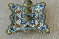 Good Pair of 19th Century French Enamel Champlevé Brass Candlesticks (3 of 6)
