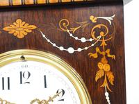 Incredible Rosewood Cased Mantel Clock with Multi Wood & Mother of Pearl Inlay 8–day Striking Clock (6 of 12)