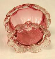 Antique Cranberry Glass Frilled Salt (2 of 5)