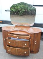 1940's Large Walnut Deco Dressing Table with Mirror by Shraeger (4 of 8)