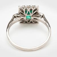 Art Deco Emerald & Diamond Cluster Engagement Ring c.1930 (2 of 7)