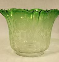 Antique Victorian Green Glass Oil Lamp & Original Frilled Green Shade (11 of 13)
