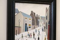 Naive Industrial Street Scene Oil on Board by Walker Scott (5 of 9)