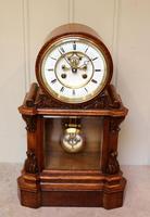 Mid Victorian Drumhead Visible Escapement Mantel Clock (3 of 11)