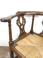 Antique 19th Century Oak Corner Chair with Rush Seat (5 of 10)