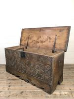 Antique Carved Oak Coffer or Blanket Box (10 of 11)