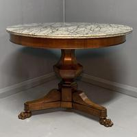 Grey Marble Top Walnut Gueridon Centre Table (3 of 5)