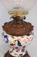 Antique Pottery Oil Lamp & Shade Globe (6 of 12)