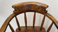 Early 20th Century Smokers Bow or Captains Chair, Ash / Beech - Large Seat, Wide Arms (4 of 15)