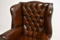 Antique Georgian  Style  Leather Wing Back Armchair (6 of 10)