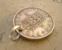 Vintage Pocket Watch Chain Fob 1956 Lucky Silver One Shilling Old 5d Coin Fob (5 of 7)