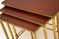1950's Vintage Brass & Mahogany Nest of Tables (4 of 10)