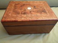 Large Figured Walnut Inlaid Jewellery Box + Tray c.1875 (7 of 12)