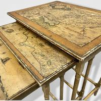 Italian Painted Nest of Tables with Map Prints (3 of 10)