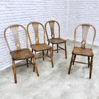 Set of 4 Windsor Kitchen Chairs with Unusual Back-rest Style