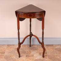 Edwardian Inlaid Rosewood Drop Leaf Occasional Table (20 of 23)
