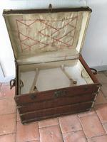 """19th Century French """"Louvre Paris"""" Vellum, Leather & Rattan Tarvelling Trunk with Tray 'like Louis Vuitton' (6 of 10)"""