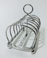 Large Antique Six Division Solid Silver Toast Rack (6 of 10)