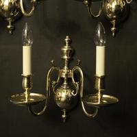 English Set of 3 Twin Arm Antique Wall Lights (3 of 10)