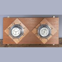 Pair of Chrome Ships Bulkhead Clock & Barometer c.1930