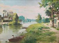 Original 1902 Antique French Riverscape Landscape Oil on Canvas Painting (7 of 13)