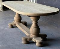 Large French Bleached Oak Monastery Dining Table (9 of 18)