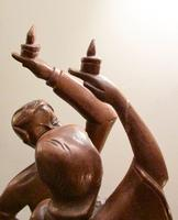 Pair of Large Hand Carved 1950's Asian Dancing Figures (4 of 5)