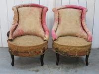 Pair of Antique Fireside Slipper Chairs for re-upholsery (4 of 9)