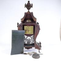 Large 19th Century French Green Painted Wood and Brass 8-day Mantel Clock (3 of 3)