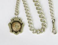 Antique Silver Watch Chain & Football Fob (2 of 4)