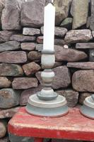 Pair of Swedish 'Folk Art' Large Over-sized Wooden Painted Candlesticks 20th Century (7 of 17)
