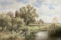 Henry John Kinnaird Watercolour -The Backwater Wargrave on Thames
