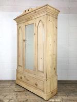 Antique Pine Wardrobe with Mirror (7 of 11)