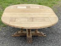 Large Round French Bleached Oak Farmhouse Table with Extensions (30 of 38)