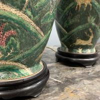 Pair of Bulbous Oriental Ceramic Lamps (6 of 7)