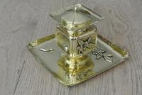 Fine English Victorian Brass Inkwell in the Japanese Inspired Style c.1880